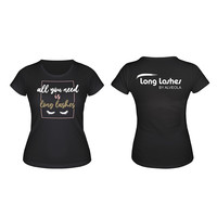 Long Lashes  \'All you need\'  T-shirt black -  L